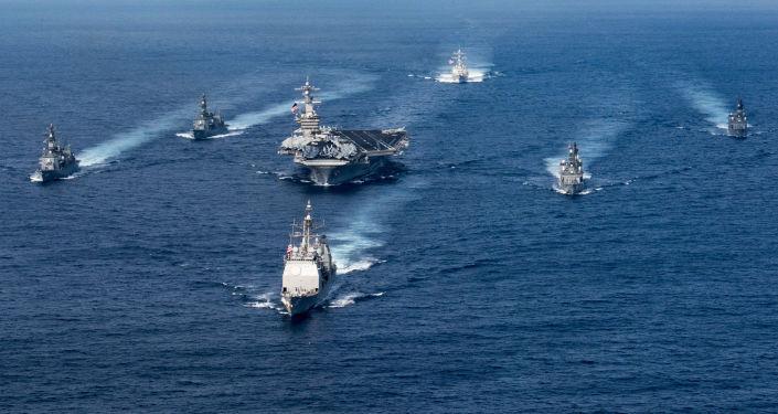 """美日军演朝鲜扬言:只需一次攻击便能击沉""""卡尔文森""""号"""