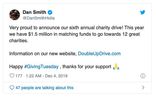Dan Smith慈善赛今年捐款150万美元
