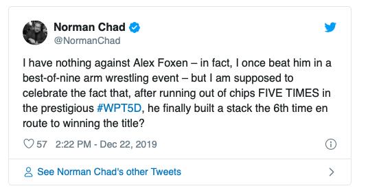 Alex Foxen利用无限再买入赛制优势斩获WPT五钻扑克赛冠军!