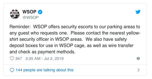 WSOP回应扑克玩家人身安全问题